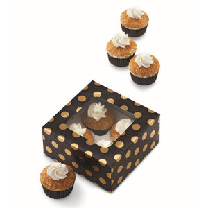 Wilton Dots Cup Cake Box - Black & Gold