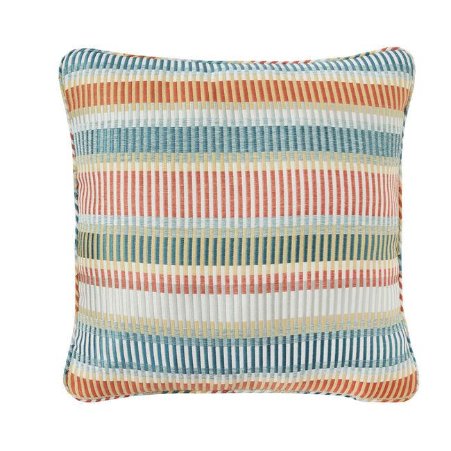 Geo Pop Barcode Aqua/Orange 45 x 45 Cushion