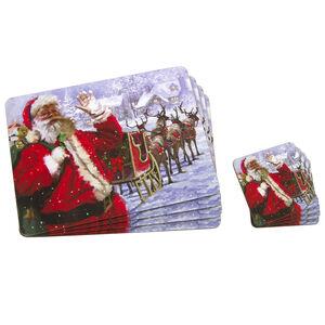Santa & Sleigh Mats & Coasters 4 Pack