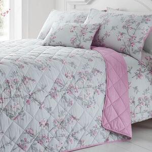Maisy Grey/Pink Bedspread 200cm x 220cm