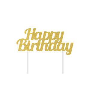 Glitter Happy Birthday Gold Cake Topper
