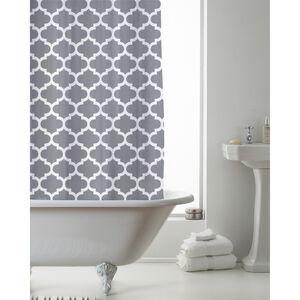 Peva Shower Curtain Grey Moroccan