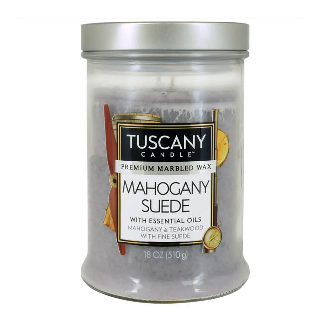 Tuscany Double Wick Mahogany Suede Candle 18oz