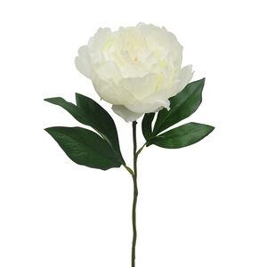 Single Peony with Foliage Bridal White 45cm