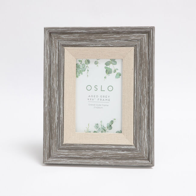 Oslo Aged Grey Photo Frame 4x6""