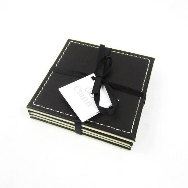 Reversible Leather Choc & Cream Plain Coasters