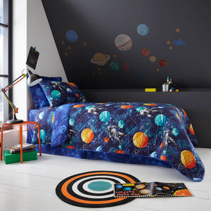 Space Travel Bedspread 200 x 220cm - Navy