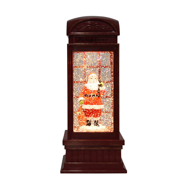 Light-up Musical  Glitter Santa in Phone Booth