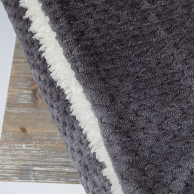 Nicole Day Waffle Sherpa Throw 130x170cm - Grey