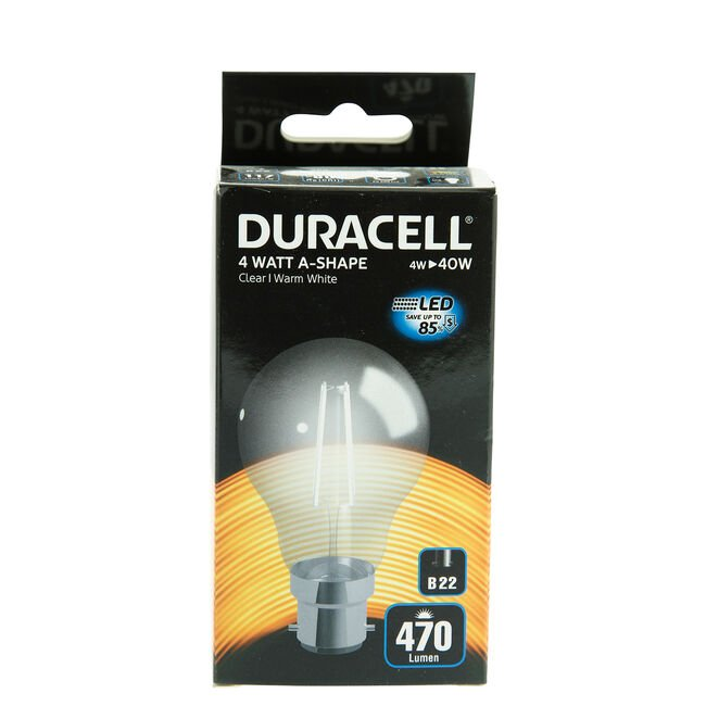 DURACELL B22 LED Bulb 4W (EQ.40W) Clear None Dim