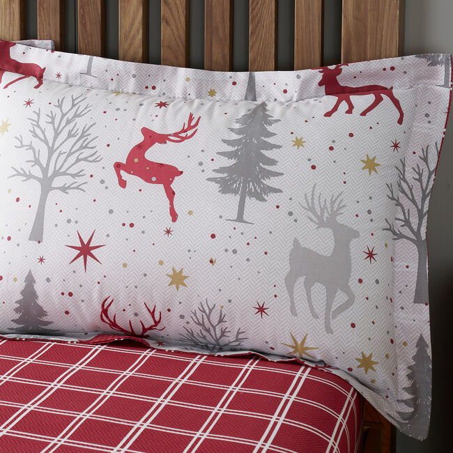 Starry Stag Oxford Pillowcase Pair - Grey