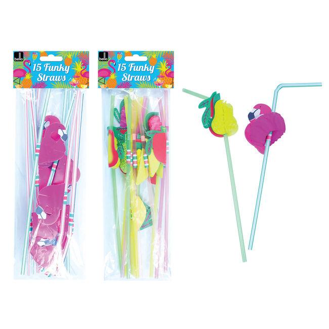 Fruit/Flamingo Straws 15 Pack