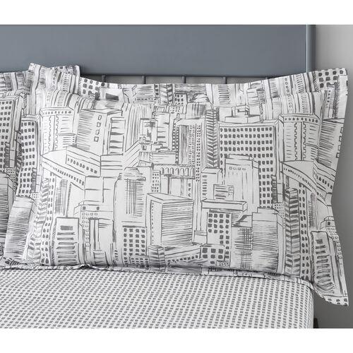 City Sketch Oxford Pillowcase Pair - Grey