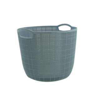 Hessian Blue 18L Round Storage Basket