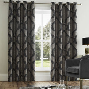 Damask Deep Charcoal Curtain