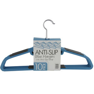 Skinny 10 Pack Blue Hangers with Anti Slip