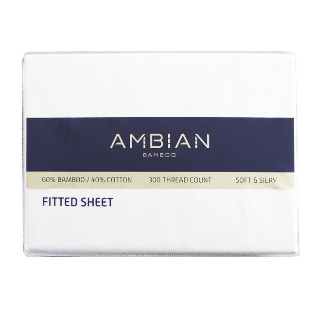 SINGLE FITTED SHEET 300Tc Bamboo/Ctn White