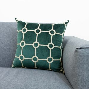 Embroidered Stitch Cushion 45x45cm - Green