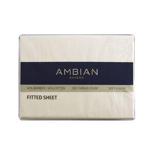 SINGLE FITTED SHEET 300Tc Bamboo/Ctn Cream