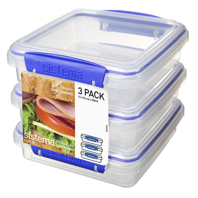 Klip It Airtight Sandwich Boxes 3 Pack