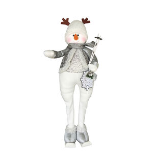 Extendable Snowman With Antlers Hat 30""