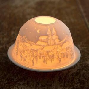Porcelain Candle Holder Snowy Village