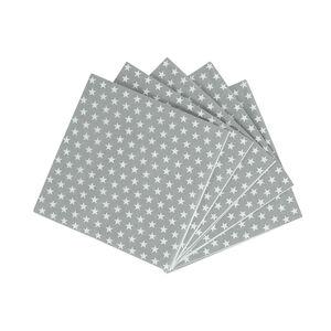 Stars Grey Cocktail Napkins - 20 Pack