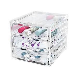Cosmetic Diamond Stackable Storage Unit 3 Drawer