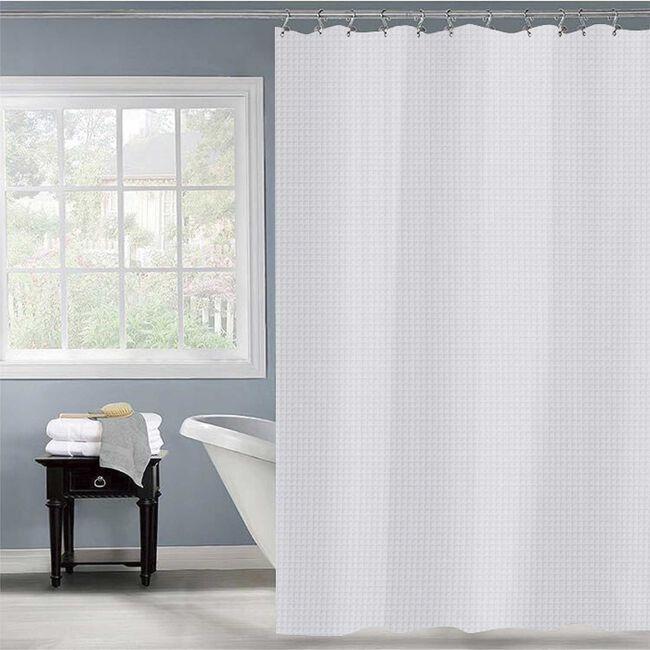 Waffle Shower Curtain White