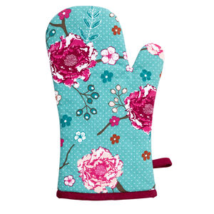 Floral Admiration Teal Single Oven Glove
