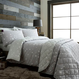 SINGLE DUVET COVER Brushed Cotton Stars Grey