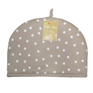 Polka Dot Natural Tea Cosy