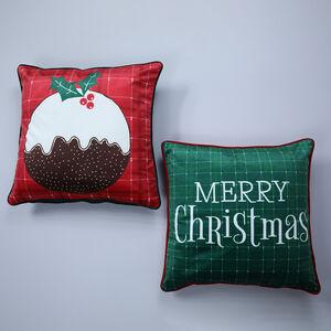 Merry Christmas Pudding Cushion Cover 2 Pk 45x45cm