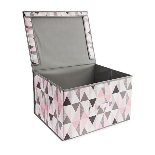 Vector Foldable Storage Chest - Grey & Pink
