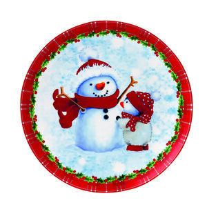 Love Christmas Snowman & Penguin Cookie Plate