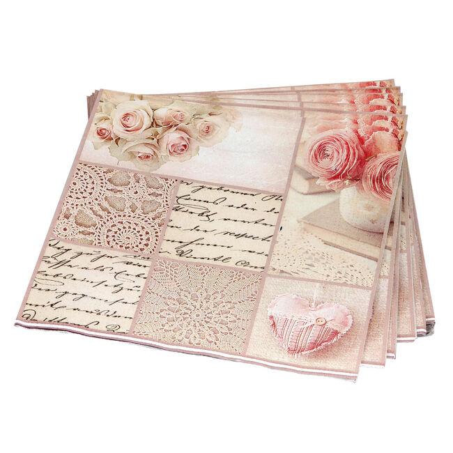Patchwork Rose Napkins 20 Pack - Pink