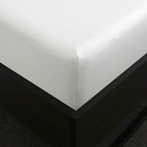KS FITTED SHEET 500 Threadcount Cotton White