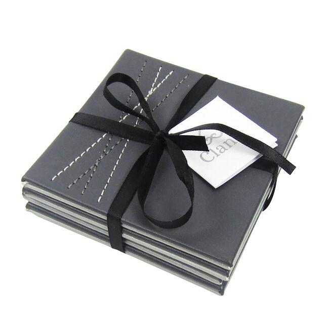 Reversible Leather Diamond Coasters 4 Pack - Grey