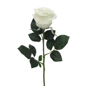 Mountain Rose Stem with Foliage Bridal White 57cm