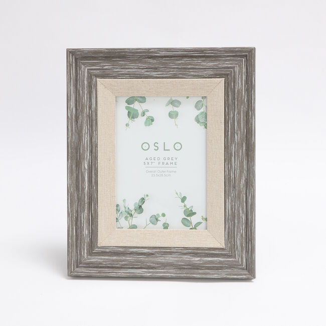 Oslo Aged Grey Photo Frame 5x7""