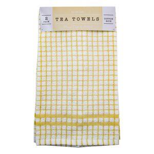 Mono Check Ochre Tea Towels