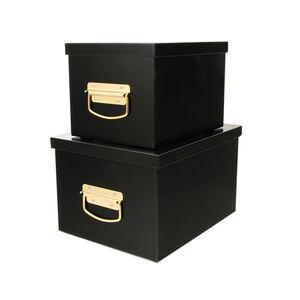 Set of Two Black Storage Trunks
