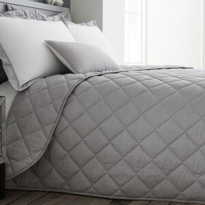Oxford Herringbone Grey Bedspread 220cm x 230cm