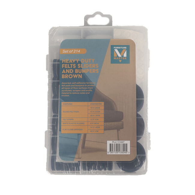 Heavy Duty Felt Sliders & Bumpers 214 Pack - Brown