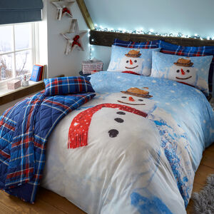 DOUBLE DUVET COVER Snowman Check