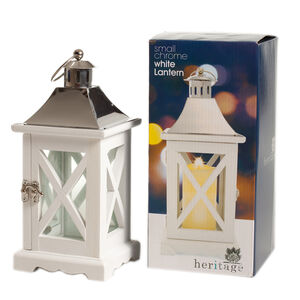 Heritage Small Chrome White Lantern