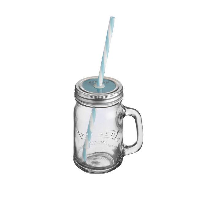 Kilner Handled Jar with Lid and Straw