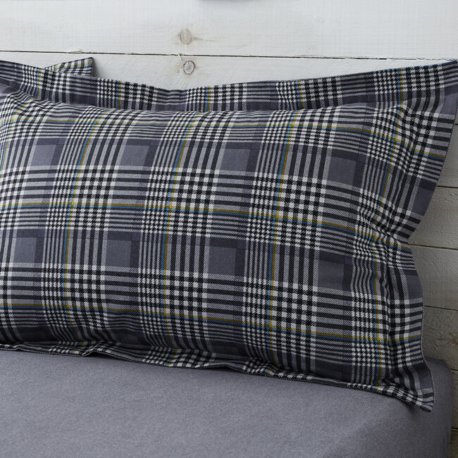 Brushed Cotton Oxford Pillowcase Pair - Wall Check