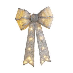 Lightup Silver Door Bow Wreath