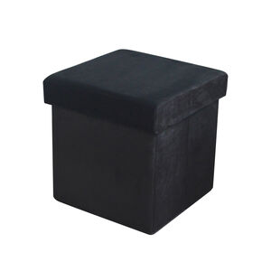 Deluxe Soft Black Folding Ottoman
